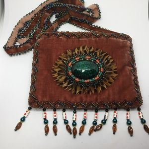 Boho Soft Brown Hippie Cross Body Bag Feathers
